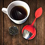 Set of 2 - Chichic Silicone Loose Tea Infuser Set, Cute Tea Strainer, Loose Tea Steeper with Drip Tray - Best for Loose Leaf or Herbal Tea (Red)