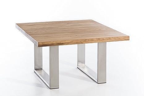Couchtisch massiv Holz Wildeiche VALMER 80x80 natur geölt, Edelstahl Tischuntergestell