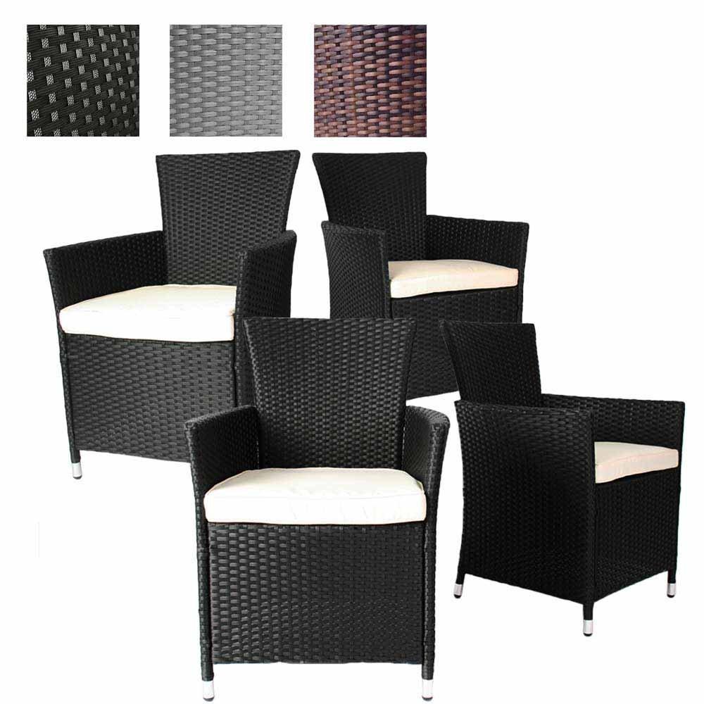 Miadomodo 4er Set Polyrattan Stühle in Schwarz - bequeme Gartenmöbel Sessel inkl. Sitzkissen