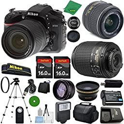 Nikon D7200 DX-Format DSLR Digital Camera Body, Nikon 18-55mm VR Lens, Nikon 55-200mm f4-5.6G ED Auto Focus-S DX Nikkor, 2pcs 16GB Memory - International Version