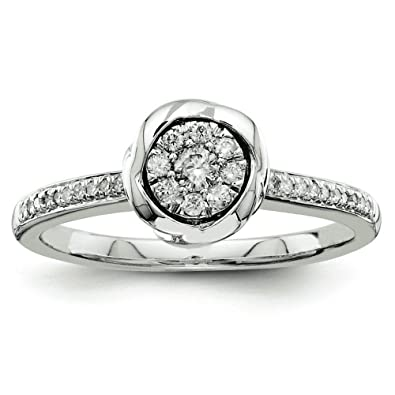 Sterling Silver Rough Diamond Engagement Ring - Size N 1/2