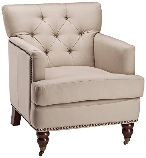 Capit Button Tufted Upholstered Cream Armchair