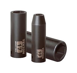 TEKTON 3/8-Inch Drive Deep Impact Socket Set, Metric, Cr-V, 6-Point, 10 mm - 19 mm, 8-Sockets | 4850