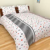 BeautifulHOMES 180 TC Cotton Double Bedsheet with Two Pillow Covers - Multi Color, CF011