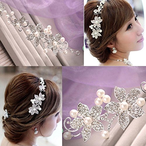 Bendable Shiny Bridal Tiara Butterfly Flower Diamante Wedding Hair vine Headband