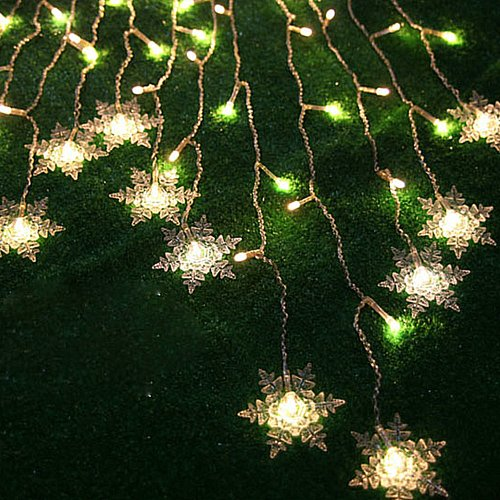 Angelbubbles Waterproof 8 Modes 2M(W)*1M(H) 104Pcs Led Fairy String Light Snowflake Shape Curtain Lighting For Garden Party Wedding Festival Decorative (Warm White 110V)