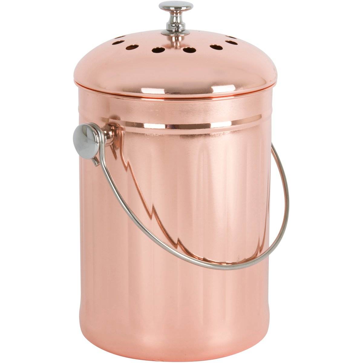 Copper-Plated Stainless Steel Kitchen Compost Bin With Two
