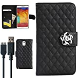 For Note 3 Case, with USB 3.0 Speed Data Sync Charger Cable, Galaxy Note 3 Flip Case Beauty Diamond Check Design By Obring(TM) (Samsung Note 3, Black)
