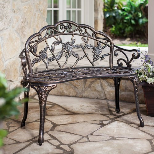 LBINTL Aluminum Cast Bench, Rose Design, Bronze (Discontinued by Manufacturer)