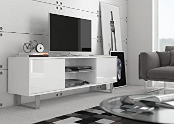 Mesa para TV MASH blanco mate/ frentes blancos en brillo alto