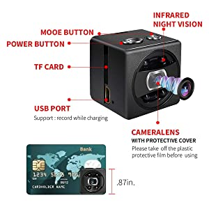 Mini Spy Hidden Camera cop cam - HD 1080P Portable Small Nanny Cam Surveillance Magnetic Security Camera with Night Vision/Motion Detection Perfect Indoor/Outdoor Surveillance Camera Home Car Office