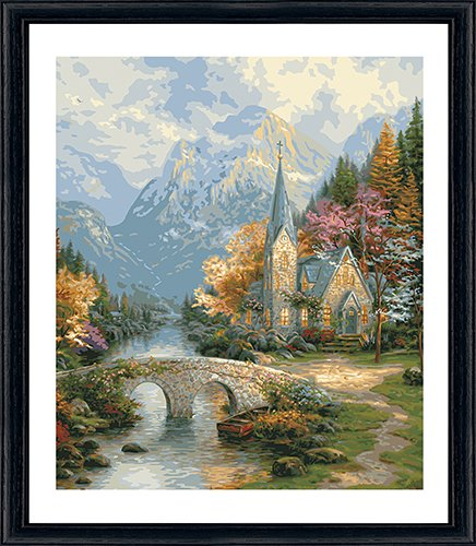 "Plaid Paint by Number Kit Thomas Kinkade The Mountain Chapel, 16 X 20"" - 1"