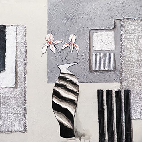 Art Painting-White And Black Stripe Vase Modern Abstract Landscape Oil Painting On Canvas Wall Art Deco Home Decoration (Unstretch No Frame) front-902017