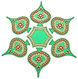 Kapasi Handicrafts Acrylic Rangoli For Diwali Home Decor Multi Colored - LBH 27 x 27 x 1 Cms (KHEA463)