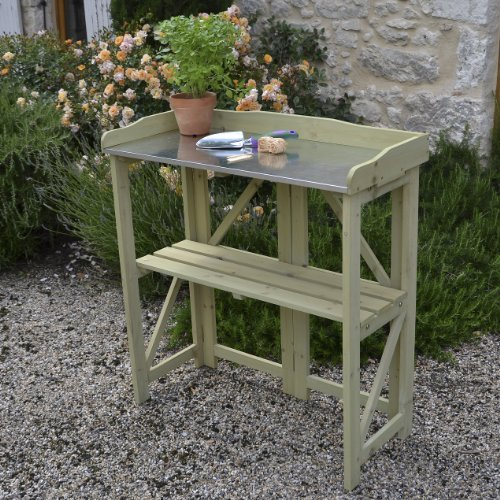 Marvelous Best Deal Folding Potting Table Bench In Light Sage Frankydiablos Diy Chair Ideas Frankydiabloscom