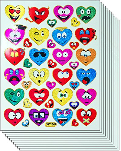 Jazzstick 390 Colorful Valentine Emoticon Heart Decorative Sticker 10 sheets 01A26