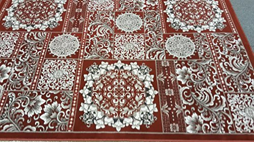 Dark Rust Sepia Gray Silver Color 5'x8' Classic Remote Traditional Flower Design Hand Carved Thick Pile High Density Carpet Area Rug Floor Mat Livingroom Bedroom 5050