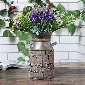 Retro Pastoral Style Primitive Jug Vase Milk Can with Tied Decoration