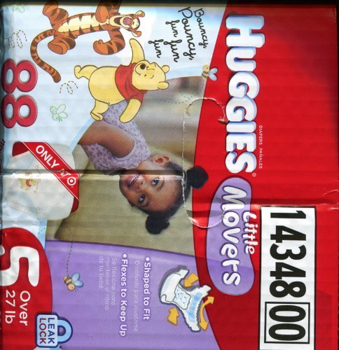 HUGGIES LITTLE MOVERS 88 COUNT DIAPERS SIZE 5
