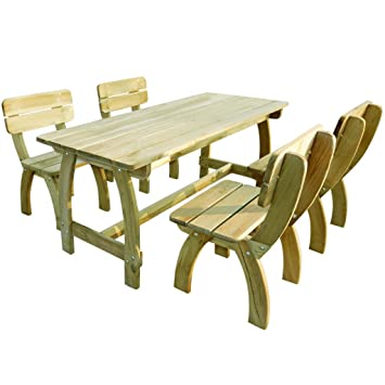 vidaXL Set de muebles jardín madera pino impregnada 5 piezas