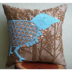 Birdy Paradise - Decorative Pillow Covers - Silk Pillow Cover Embellished with Beads &amp; Sequins