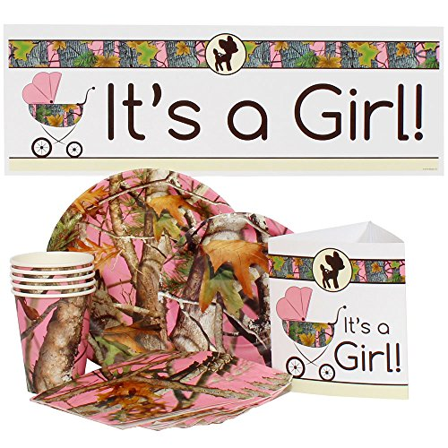 Pink Camo Baby Shower Party Package for 16 Guests (Pink Camo Baby Shower compare prices)