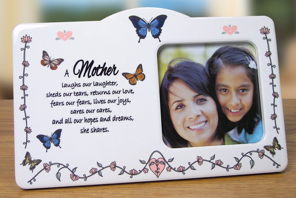 Mother Picture Frame – Ceramic Photo Plaque with Hand Painted Butterflies and Flowers – Loving Poem About Mom – Mother's Day Gift – Gifts for Her – Grandmother to Be Gift – Mother in Law – Grandma Gift