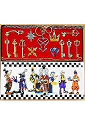 New 13pcs Kingdom Hearts 2 II Gold Necklace Pendant set Keyblade Keychain in box