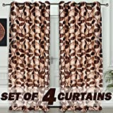 "Story@Home Nature Designer Eyelet 4 Piece Polyster Door Curtain Set - 46"" x 84"" (7ft),"