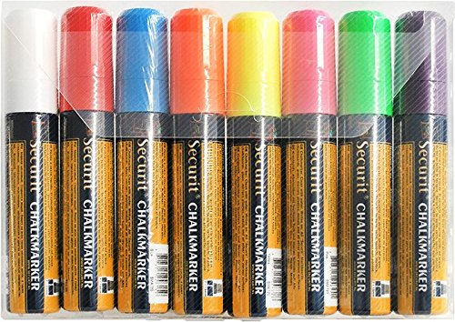 Set of 8 Illumigraph Wipe Clean Markers Wide Square Point. Colours: white, pink, red, orange, yellow, green, blue and purple. Nib: 7 x 15mm.