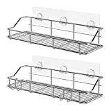 KESOL Adhesive Shower Caddy Shower Shelf Basket with Hooks, 304 Stainless Steel- 2 Pack