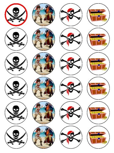X24 Pirate Scull, Sword and Treasure Chest Cup Cake Toppers Decorations on Edible Rice Paper