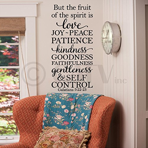But The Fruit Of The Spirit Is Love Joy Peace.... Galatians 5:22-23 vinyl lettering wall quote decal art sticker(12.5X26) (Fruits Of The Spirit Wall Art compare prices)