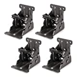 Pack of 4 Folding Brackets Lock Extension Support for Table Bed Leg Bronze Steel Foldable Hinge Hardware with Screws, Bronze (Tamaño: 4 Pack)