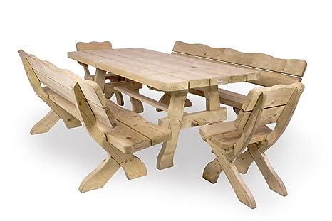 Gartenmöbel Set 'Farm' 240 cm, Gartentisch, 2 Gartenstuhle und 2 Gartenbänke, ländliche, rustikale Gartenmöbel, aus 40-60 mm dickem Fichtenholz