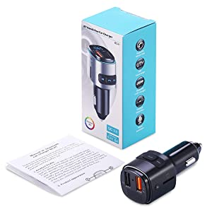 (Upgraded Version) Bluetooth FM Transmitter for Car, QC3.0 Charging, Dual USB Ports, 7 Color RGB LED Backlit Bluetooth Car Adapter, Support Siri Google Assitant, U Disk, SD Card, Hands-Free Car Kit (Color: black)