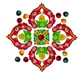 Festive Decor Special Designer Wooden Rangoli With Diyas - B01HMEL8NY