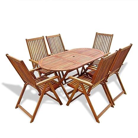 vidaXL Set da esterno 7 pz tavolo e sedie da giardino pieghevoli legno di acacia