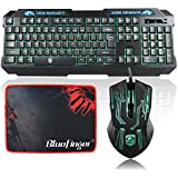 Green Backlit Gaming Keyboard And Mouse Set-BlueFinger® USB Wired LED Keyboard And Mouse For Laptop & Desktop...