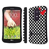 Mobiflare LG G2 Black/White Polk-a-Dots with Bow Slim Armor Shock Proof Artistry Design Phone Case