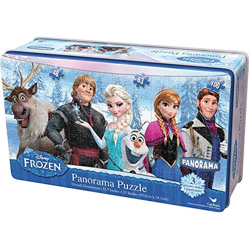 Disney Frozen Panorama Puzzle in Tin 3 Puzzles Make 1 Panorama By Cardinal