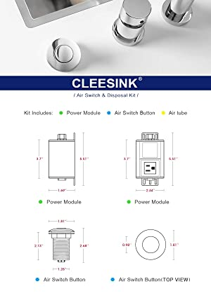 """Stainless Steel Brushed Sink Top Air Switch Kit Button for SHORT//2/"""""""