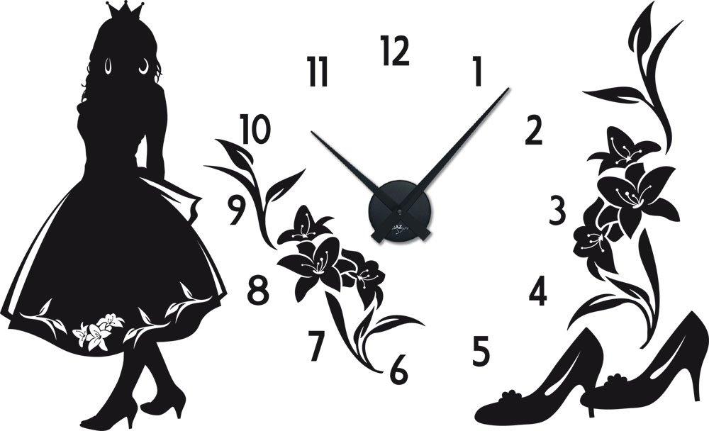 Wandtattoo Uhr mit Uhrwerk Wanduhr Kinderzimmer Mädchen Prinzessin (Uhr Schwarz//070 schwarz) günstig kaufen