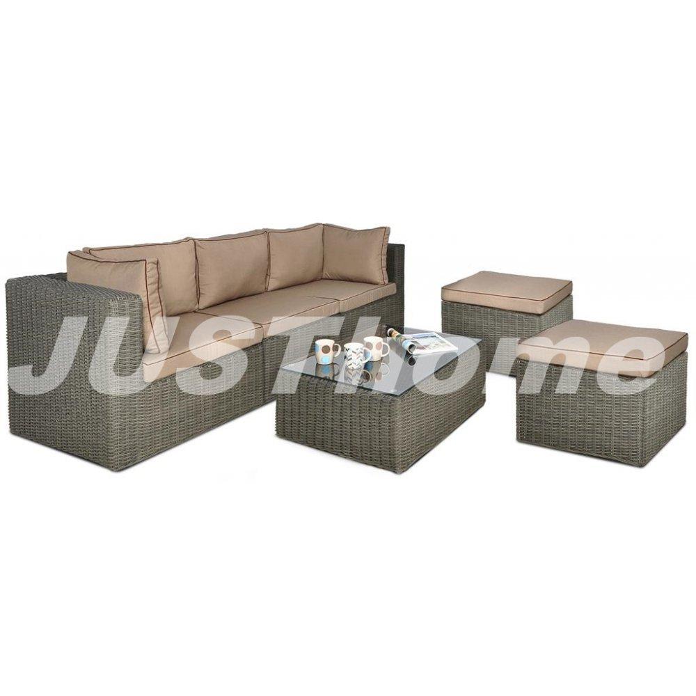 JUSThome Gartenmöbel Sitzgruppe Gartengarnitur Rodos IIIP 2x Sitzhocker + 1x Sofa + 1x Tisch Grau günstig online kaufen