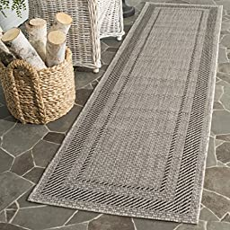 Safavieh Courtyard Collection CY8477-36612 Beige and Black Indoor/ Outdoor Runner, 2 feet 3 inches by 12 feet (2\'3\