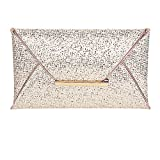 Clasichic Damen Frauen Envelope Clutch Handtasche Abendtasche (Gold)