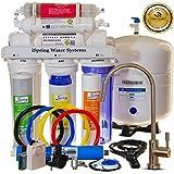 Système de filtrage d'eau minérale alcaline 75GPD à osmose inverse à 6 étapes iSpring, Modèle RCC7AK