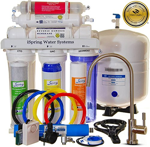 iSpring-RCC7AK-WQA-GOLD-SEAL-US-Legendary-6-Stages-75GPD-Reverse-Osmosis-Water-Filter-System-featuring-Alkaline-Mineral-Stage-Brushed-Nickel-EU-Faucet-45-value-and-Clear-See-through-1st-Stage