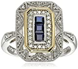Sterling Silver and 14k Yellow Gold, Blue Sapphire, and Diamond-Accent Art Deco-Style Ring (0.12 cttw, I-J Color, I3 Clarity)