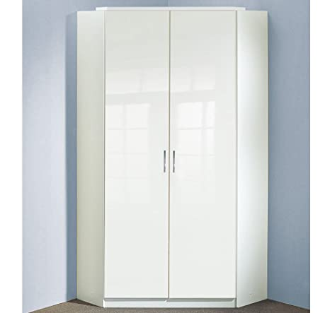 Eckkleiderschrank in Pearlglanz Softwhite/Korpus alpinweiß, 8 Einlegeböden, 2 Kleiderstangen, Aufstellmaß: 120x120 cm, Maße: B/H/T ca. 95/198/95 cm